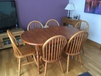 Solid pine extendable Kitchen Table and 6 Chairs - good condition