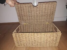 2 wicker boxes