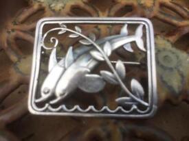 Georg Jensen Art Deco Dolphin Brooch #251..Sterling Silver..Really Lovely
