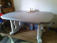 Large Painted Solid Wooden Dining Table