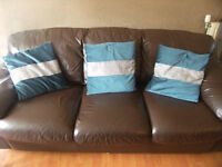 Brown leather sofa and 2 chairs