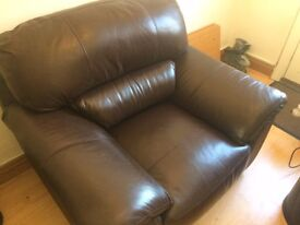 Real Leather large chocolate brown armchair