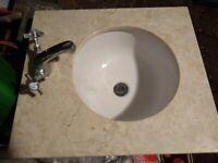 Marble Vanity top with Basin and Bensham Mono Basin Mixer Crosshead Chrome Taps