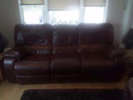Three seater dual electric Lazy Boy Leather Sofa