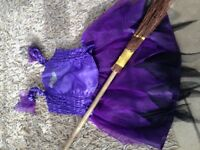 tesco 2 piece halloween witches outfit and broom 7-8