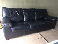 Can Deliver- Stylish 3 Seater Black Real Leather Sofa Bed