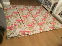 """2 PAIRS OF DUNELM LINED CURTAINS SIZE 90"""" by 90"""", & 4 matching cushion covers are in VGC"""