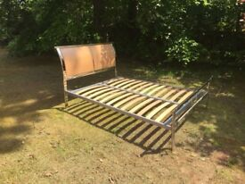 Double Bed frame, heavy steel construction chrome finnish with beech latts new