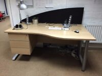 Large Commercial Grade Office Desk with Drawers and Screen