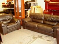 Chocolate Brown Leather Large 2 Seater Sofa and Armchair. Good Condition. 2 Piece Suite