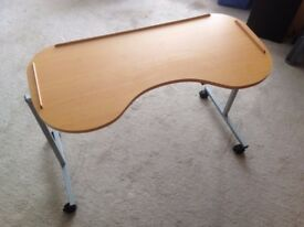 Adjustable curved over bed/ chair table, height & width adjustable, wood effect, easy clean surface