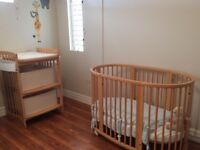 Stokke crib, change table and mattress