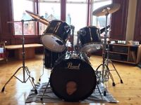 Pearl Export Black Drum Kit with Sabian Cymbals, Stands & Hardcases