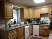 Complete set of oak kitchen units with some appliances