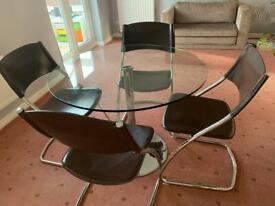 Round table and 4 leather chairs Barker & Stonehouse