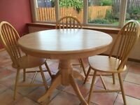 """Immaculate Light Pine Circular Table 41"""" dia. 30"""" height. Suitable for kitchen or dining room"""