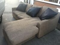 FABRIC L SHAPE SOFA VERY COMFY LIGHT BROWN + CUSHIONS