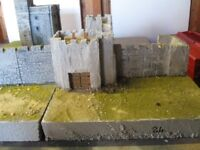 Medieval castle walls , towers , gatehouse and keep all to 25 mm scale.