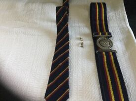R.E.M.E. DRESS BELT,TIE AND TWO COLLAR PIN BADGES ALL 1960