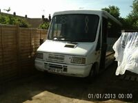 Iveco motorhome. good condition, 4 birth, working shower toilet and kitchen, garage to the rear