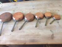 Vintage set of 6 copper frying pans