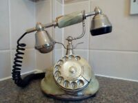 ANTIQUE / VINTAGE 1960'S MARBLE / ONYX ONIX EUROPEAN DIAL TELEPHONE