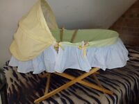 Mothercare Moses Basket with coverlet, mattress, and stand