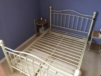 Cream, metal double bed frame and side tables