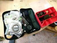 Fox carp fishing rig wallet + tackle box and various tackle