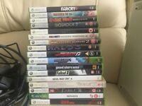 Xbox 360 +games + controllers bundle
