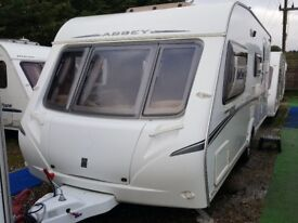 2008 Abbey GTS 416 4 Berth Side Dinette End Washroom Caravan with Motor Mover and Full Awning