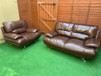 2 seater sofa and armchair with chrome feet,Genuine leather, Nice condition,Free Delivery in Bristol