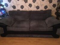 2 x 3 seater sofa grey and black