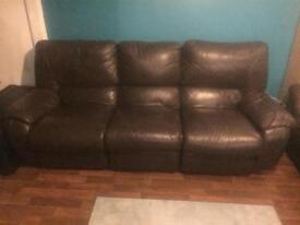 3 x chocolate brown leather sofas - all offers welcome to be picked up urgently