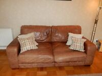 2 Brown Antique Leather Sofas and matching Armchair - £200 the lot!
