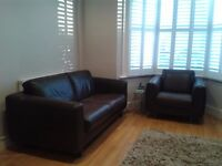Habitat Brown Leather Sofa & Armchair for Sale in Ealing