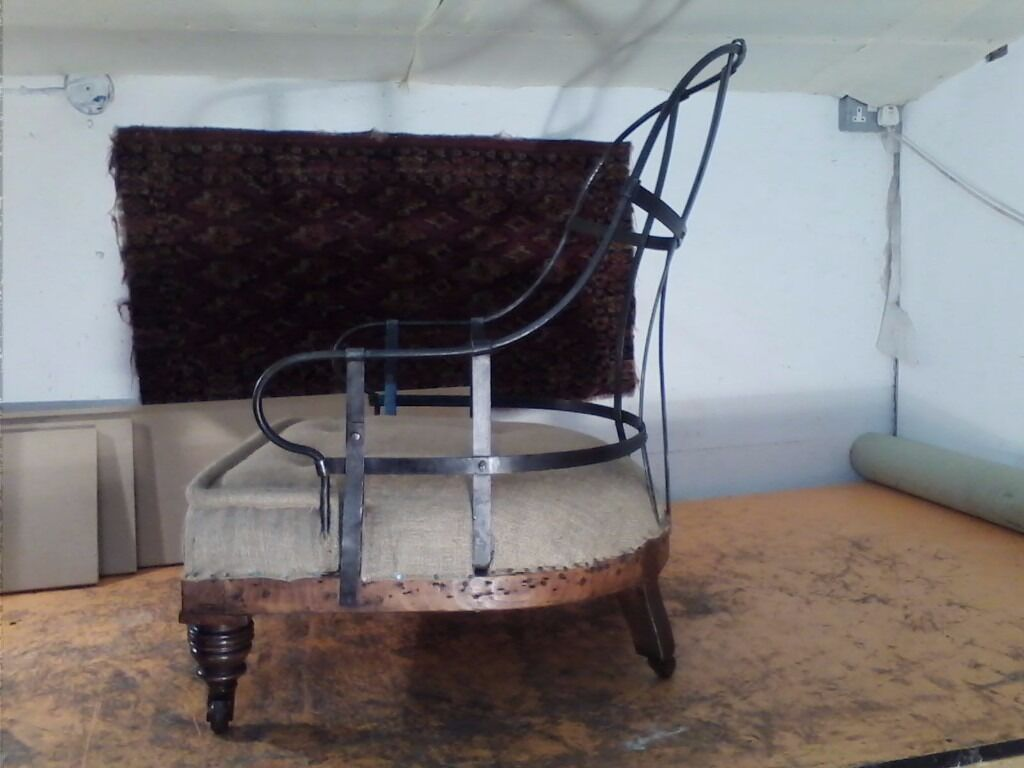 Antique Victorian Iron Back Chair Upholstered In