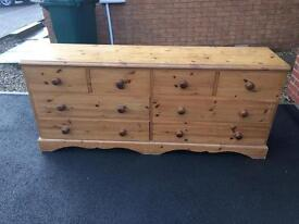 SOLID OAK DOUBLE CHEST OF DRAWERS