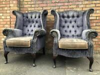 Vintage Chesterfield Wingback Armchairs x pair & Footstool.
