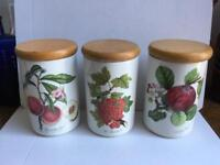 Three Portmeirion Pomona Storage Jars