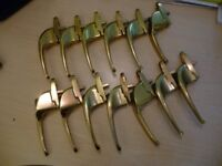 twelve solid brass qualitywindow handles ,all twelve only £2, each , for all twelve,stanmore,middx.
