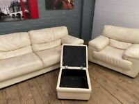 HARVEYS REAL LEATHER 3 PIECE SET SOFA & ARM CHAIR AND FOOTSTOOL