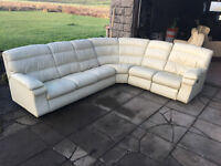 Large cream leather corner sofa with motorised recliner DELIVERY AVAILABLE