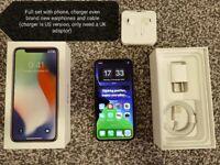 iPhone X 256gb Silver Unlocked Mint Cond