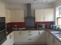 Cream gloss Howdens kitchen with dishwasher and worktop