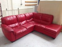 Beautiful red leather corner sofa for sale.
