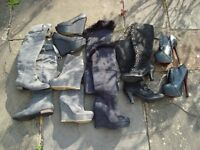 Bundle Job Lot shoes ankle knee high flats boots Bronx leather new and used size uk 4