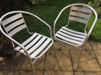 2 x aluminium garden chairs