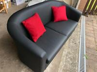 Stylish and Compact Black Leather Couch