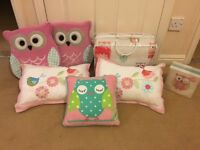 Single Owl Bedspread, cushions and pictures